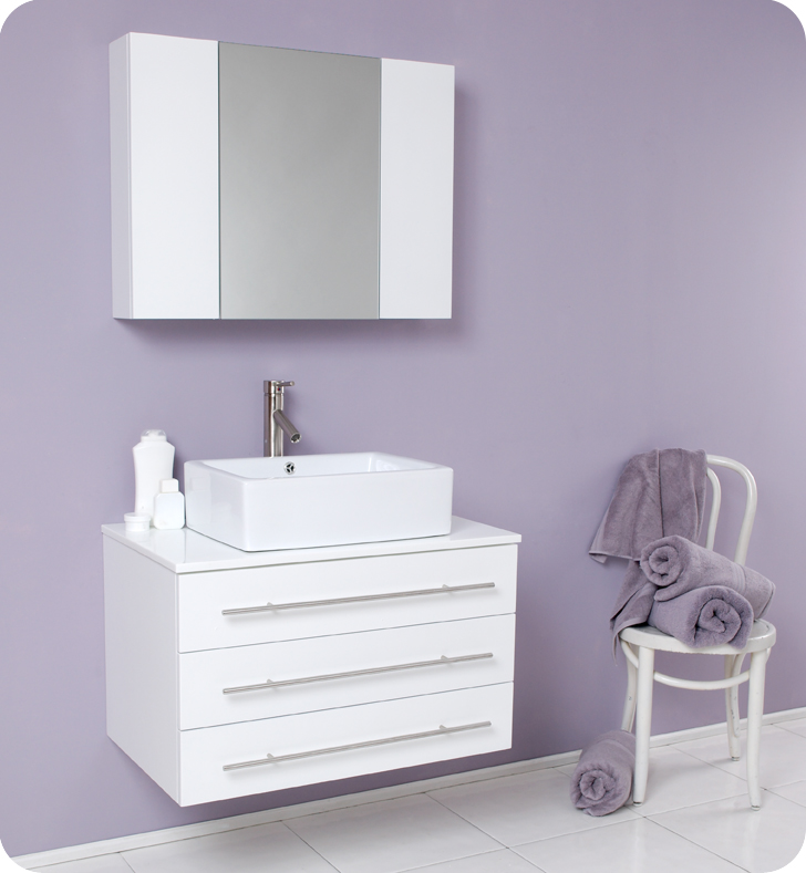 fresca modello white bathroom vanity w white ceramic sink and medicine - Modern White Bathroom Cabinets