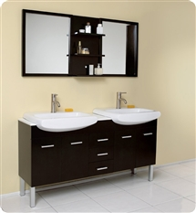fresca vetta double sink bathroom vanity with espresso finish