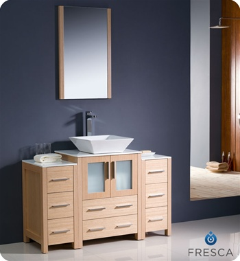 "Fresca Torino 48"" Light Oak Modern Bathroom Vanity w/ 2 Side Cabinets & Vessel Sink"