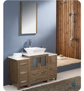 "Fresca Torino 48"" Walnut Brown Modern Bathroom Vanity w/ 2 Side Cabinets & Vessel Sink"