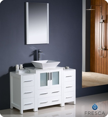 "Fresca Torino 48"" White Modern Bathroom Vanity w/ 2 Side Cabinets & Vessel Sink"