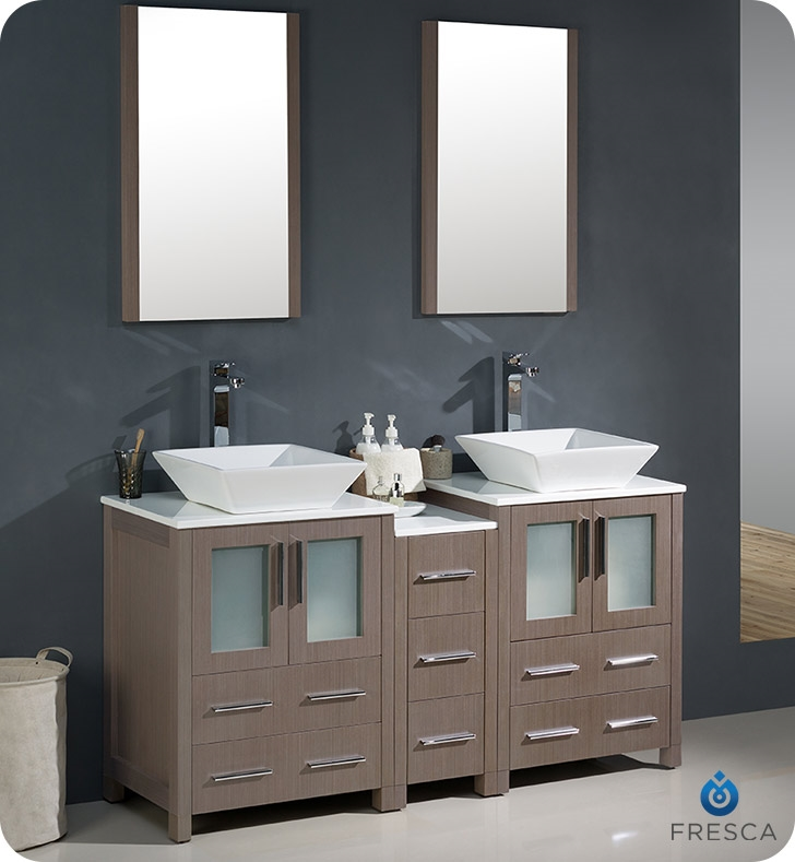60 Double Sink Bathroom Vanity. Fresca Torino 60  Gray Oak Modern Double Sink Bathroom Vanity with Side Cabinet and Vessel Vanities Buy Furniture Cabinets RGM