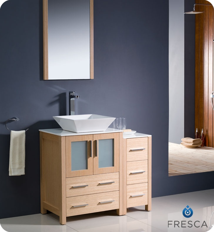 Bathroom vanities buy bathroom vanity furniture cabinets rgm fresca torino 36 light oak modern bathroom vanity w side cabinet vessel sink aloadofball Image collections
