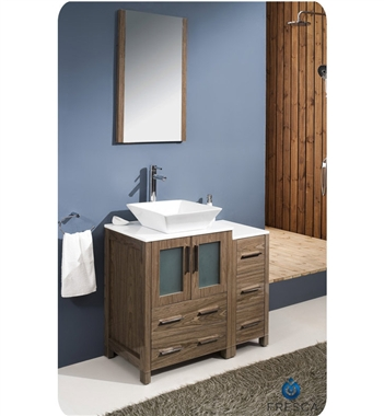 "Fresca Torino 36"" Walnut Brown Modern Bathroom Vanity w/ Side Cabinet & Vessel Sink"