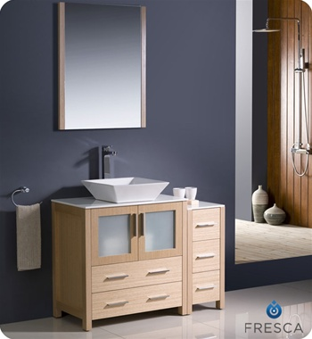 "Fresca Torino 42"" Light Oak Modern Bathroom Vanity w/ Side Cabinet & Vessel Sink"