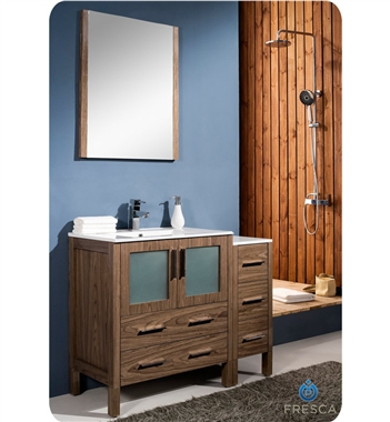 "[DISCONTINUED]Fresca Torino 42"" Walnut Modern Bathroom Vanity w/ Side Cabinet & Integrated Sink"