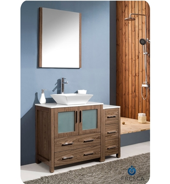"Fresca Torino 42"" Walnut Brown Modern Bathroom Vanity w/ Side Cabinet & Vessel Sink"