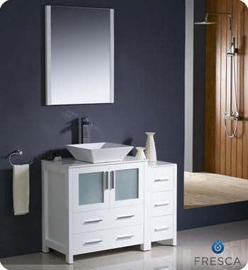 "Fresca Torino 42"" White Modern Bathroom Vanity w/ Side Cabinet & Vessel Sink"
