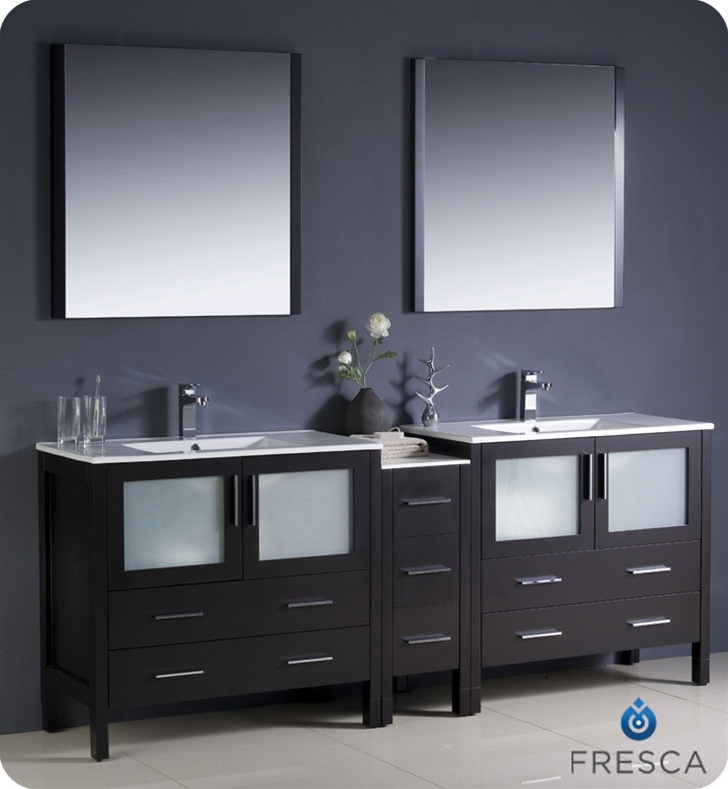 Fresca Torino 84 Espresso Modern Double Sink Bathroom Vanity W Side Cabinet Integrated