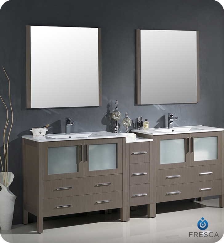 Fresca Torino 84 Gray Oak Modern Double Sink Bathroom Vanity With Side Cabinet And Integrated