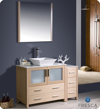 "Fresca Torino 48"" Light Oak Modern Bathroom Vanity w/ Side Cabinet & Vessel Sink"