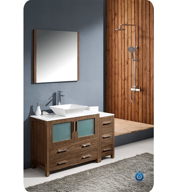 "Fresca Torino 48"" Walnut Brown Modern Bathroom Vanity w/ Side Cabinet & Vessel Sink"