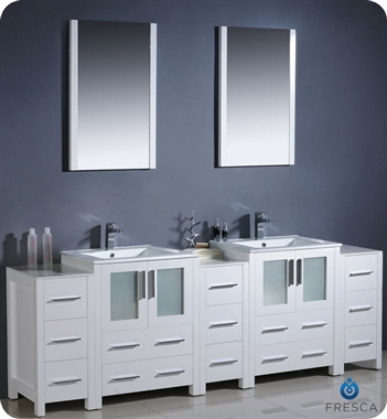 "Fresca Torino 84"" White Modern Double Sink Bathroom Vanity w/ 3 Side Cabinets & Integrated Sinks"