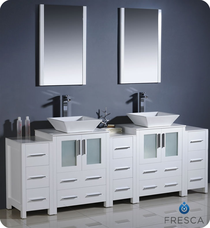Fresca Torino 84 White Modern Double Sink Bathroom Vanity W 3 Side Cabinets