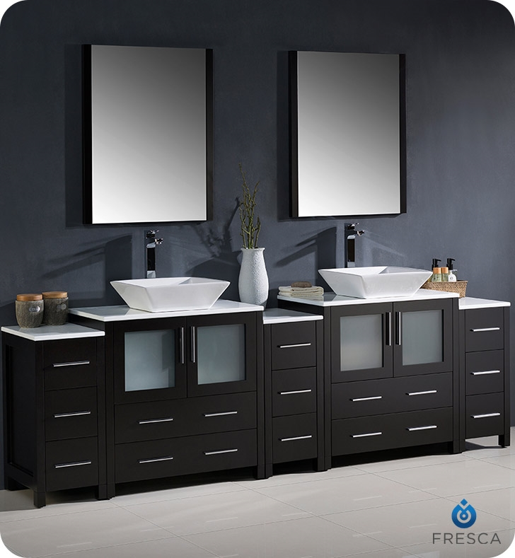 Fresca Torino 96 Espresso Modern Double Sink Bathroom Vanity With 3 Side Cabinets And Vessel