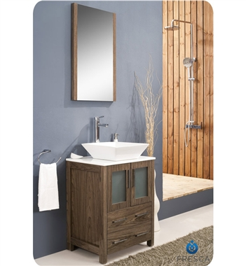 "Fresca Torino 24"" Walnut Brown Modern Bathroom Vanity w/ Vessel Sink"