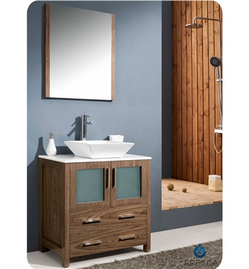 "Fresca Torino 30"" Walnut Brown Modern Bathroom Vanity w/ Vessel Sink"
