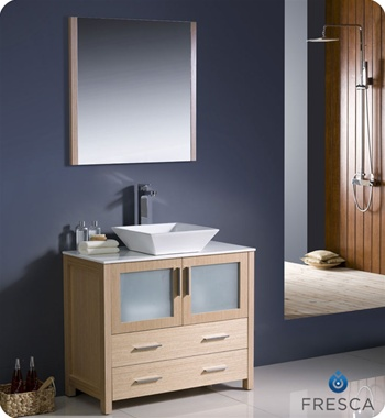 "Fresca Torino 36"" Light Oak Modern Bathroom Vanity w/ Vessel Sink"