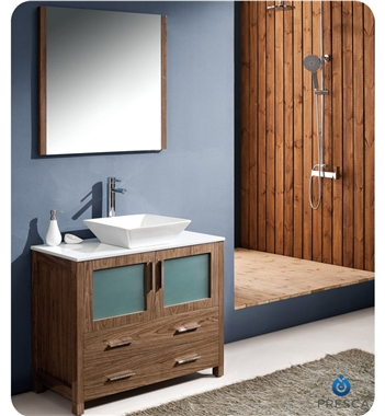 "Fresca Torino 36"" Walnut Brown Modern Bathroom Vanity w/ Vessel Sink"