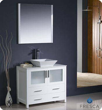 "Fresca Torino 36"" White Modern Bathroom Vanity w/ Vessel Sink"