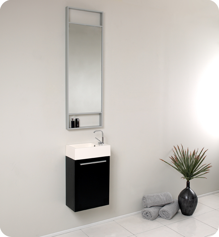 fresca pulito black small bathroom vanity w tall mirror fvn8002bw - How Tall Is A Bathroom Vanity
