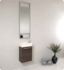 Fresca - Pulito - (Gray Oak) Small Bathroom Vanity w/ Tall Mirror - FVN8002GO