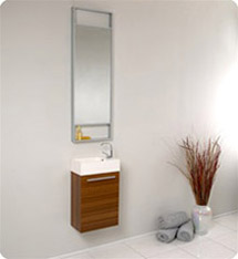 Fresca - Pulito - (Teak) Small Bathroom Vanity w/ Tall Mirror - FVN8002TK