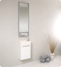 Fresca - Pulito - (White) Small Bathroom Vanity w/ Tall Mirror - FVN8002WH