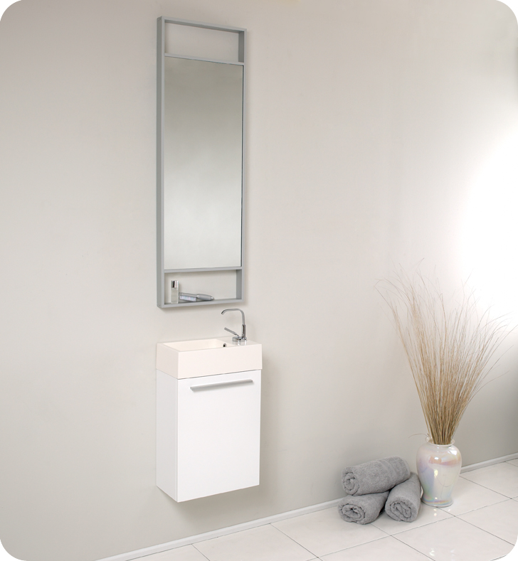 Fresca   Pulito   (White) Small Bathroom Vanity W/ Tall Mirror   FVN8002WH