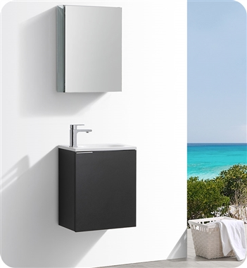 "Fresca Valencia 20"" Black Wall Hung Modern Bathroom Vanity with Medicine Cabinet"