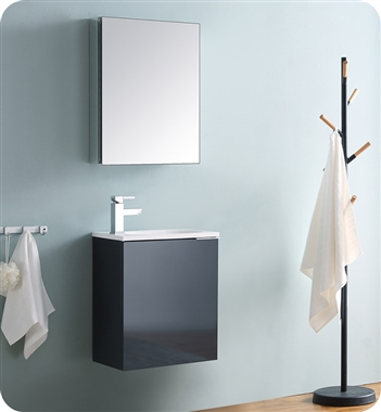 "Fresca Valencia 20"" Dark Slate Gray Wall Hung Modern Bathroom Vanity with Medicine Cabinet"