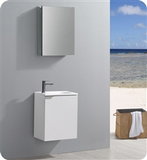 "Fresca Valencia 20"" Glossy White Wall Hung Modern Bathroom Vanity  with Medicine Cabinet"