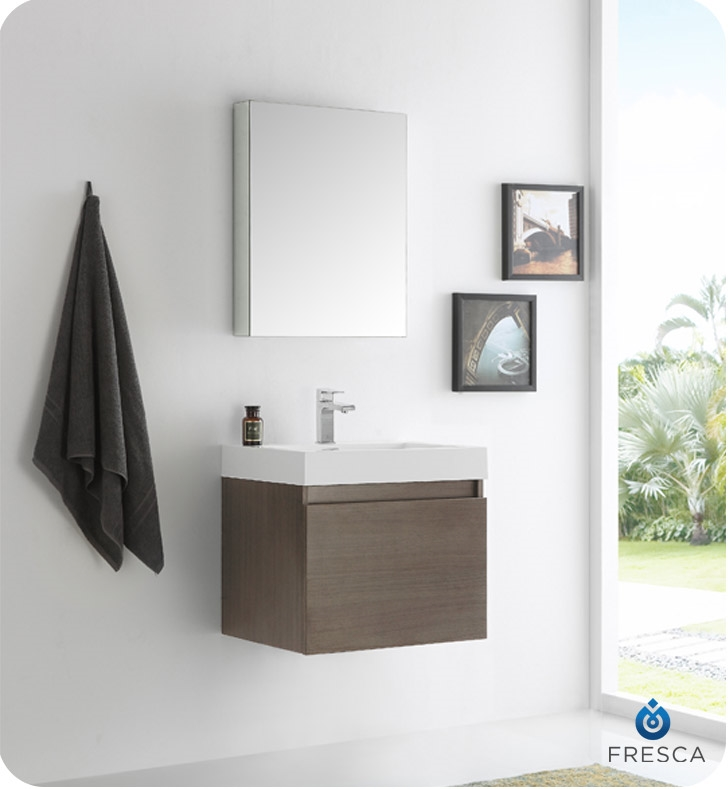 fresca nano gray oak bathroom vanity w blum storage system