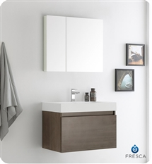 "Fresca Mezzo 30"" Gray Oak Wall Hung Modern Bathroom Vanity with Medicine Cabinet"