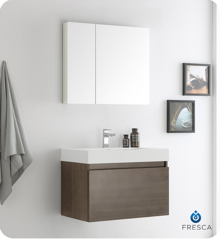Fresca Mezzo 30 Gray Oak Wall Hung Modern Bathroom Vanity With Medicine Cabinet