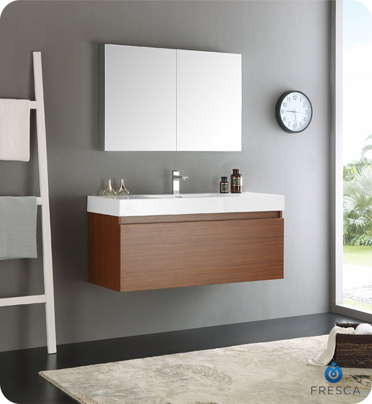fresca mezzo 48 teak wall hung modern bathroom vanity with medicine cabinet - Wall Mounted Bathroom Vanity