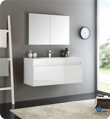 "Fresca Mezzo 48"" White Wall Hung Modern Bathroom Vanity with Medicine Cabinet"