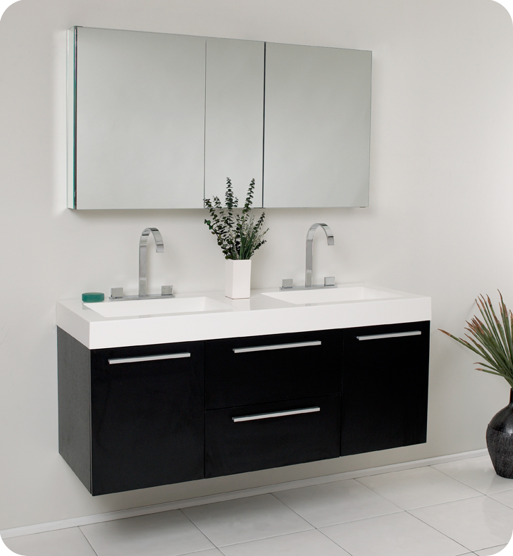 Simple  Modern Double Sink Bathroom Vanity With Side Cabinet And Vessel Sinks