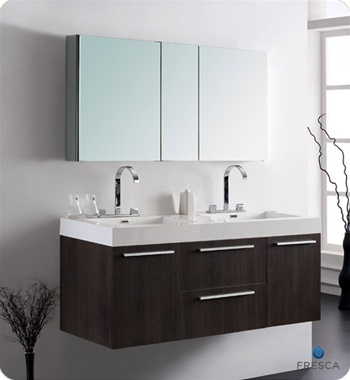 Fresca - Opulento - (Grey Oak) Double Sink Bathroom Vanity w/ Large Medicine Cabinet - FVN8013GO