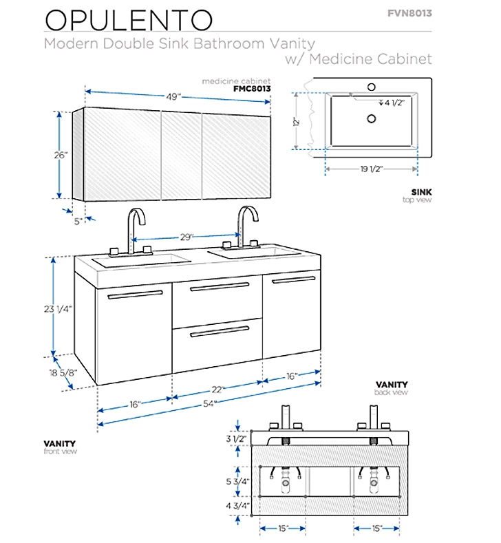 Bathroom Sink Measurements : Bathroom Vanities Buy Bathroom Vanity Furniture & Cabinets RGM ...