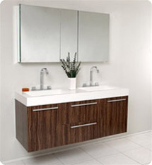 Fresca - Opulento - (Walnut) Double Sink Bathroom Vanity w/ Large Medicine Cabinet - FVN8013GW