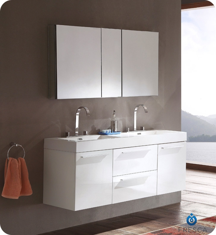 fresca opulento white modern double sink bathroom vanity w medicine cabinet - White Bathroom Cabinets And Vanities