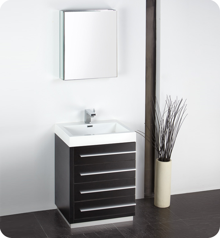 fresca livello 24 black bathroom vanity w modern faucet and