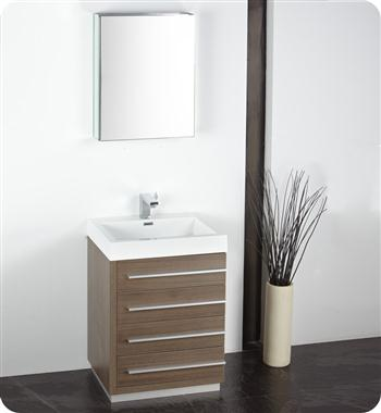 "Fresca - Livello 24"" - (Gray Oak) Bathroom Vanity w/ Modern Faucet and Medicine Cabinet - FVN8024GO"