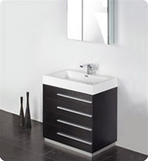 "Fresca - Livello 30"" - (Black) Bathroom Vanity w/ Modern Faucet and Medicine Cabinet - FVN8030BW"
