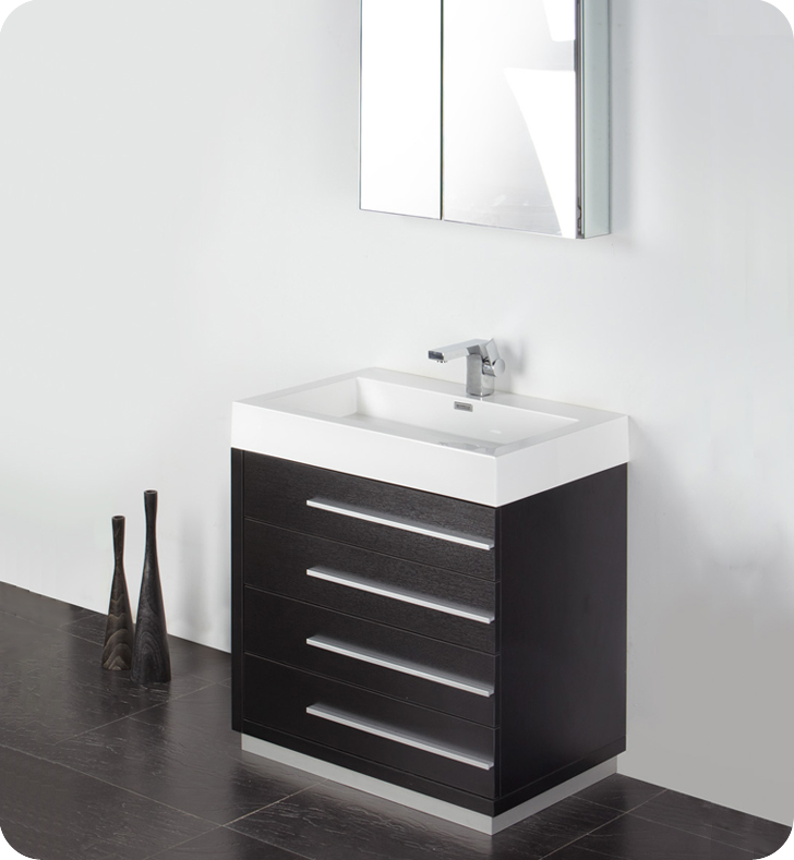 Fresca Livello 30 Black Bathroom Vanity W Modern Faucet And