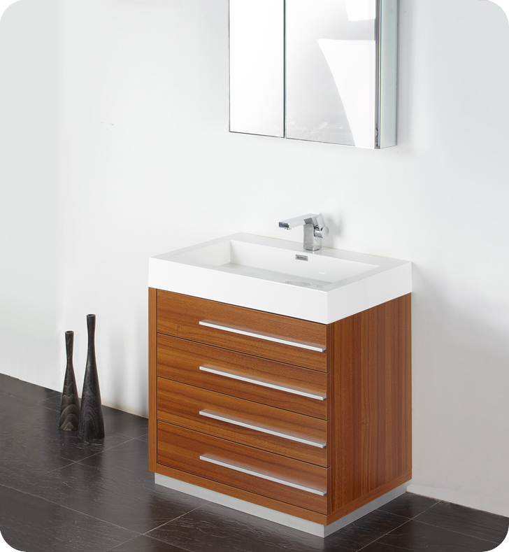 Fresca   Livello 30     Teak  Bathroom Vanity w  Modern Faucet and. Bathroom Vanities   Buy Bathroom Vanity Furniture   Cabinets   RGM