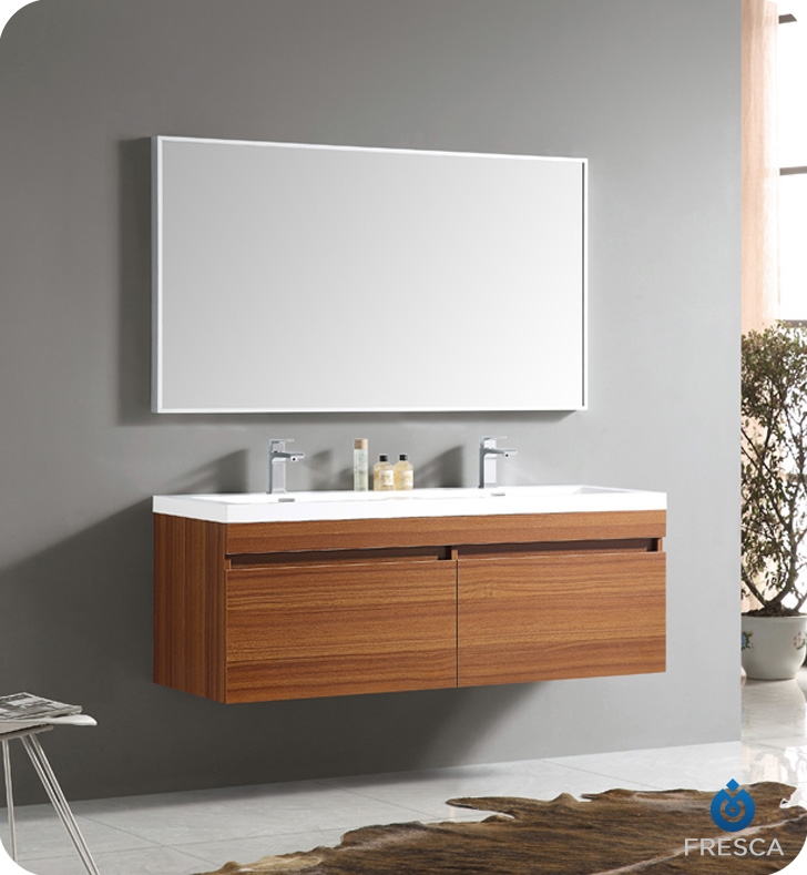 Fresca   Largo   (Teak) Double Sink Bathroom Vanity W/ Wavy Sink
