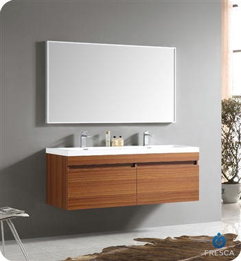 Fresca - Largo - (Teak) Double Sink Bathroom Vanity w/ Wavy Sink - FVN8040TK