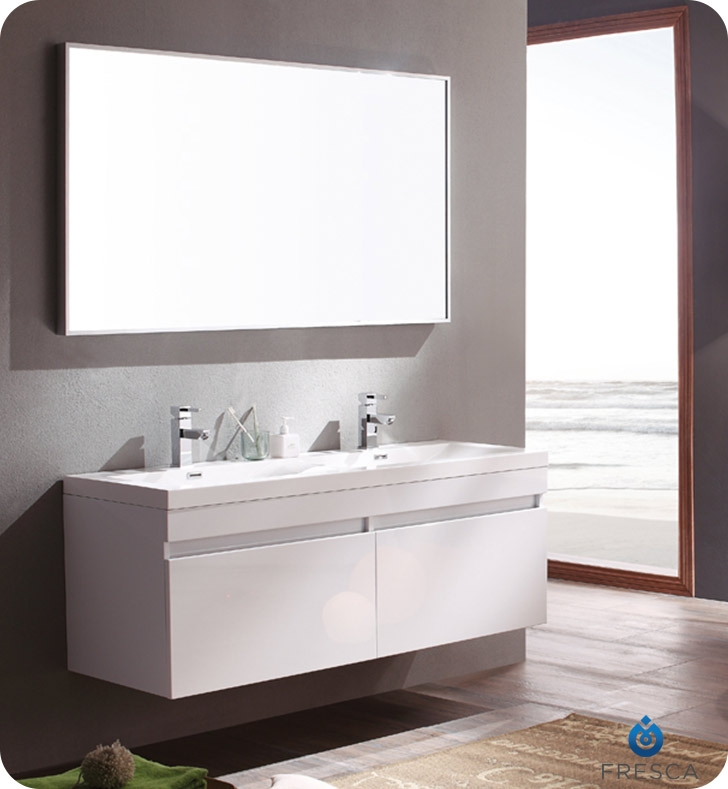 Nice Fresca Largo White Modern Bathroom Vanity W/ Wavy Double Sinks